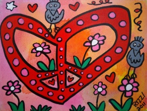 James Rizzi Peace and Love and Peace and Love Acryl auf Leinwand 15 x 20 cm web