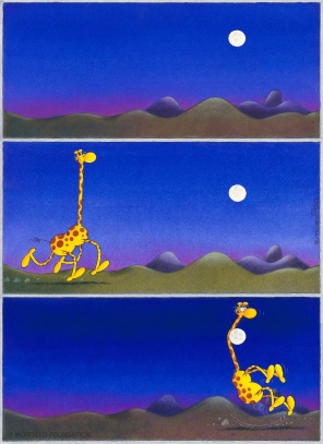 "Mordillo ""Giraffe and Moon"" Fine Art Print 60 x 46 cm"