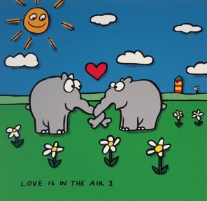 "Otto Waalkes ""Love is in the Air"" Siebdruck 40 x 40 cm"