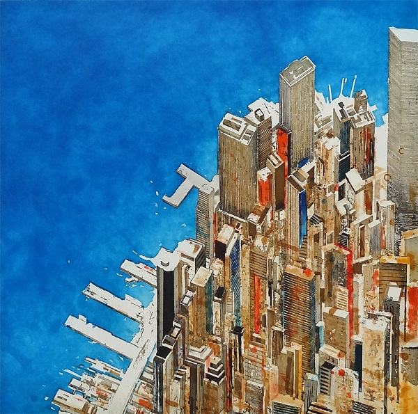 "Gottfried Salzmann ""Triangle Manhattan"" Farbradierung 64 x 63 cm"