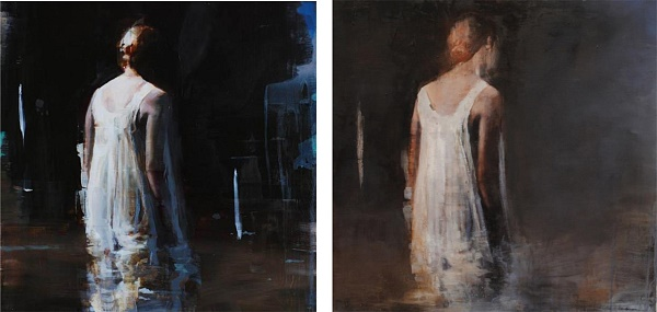 "Left, the original by Alex Kanevsky. On the right: Gabriella Benevolenza ""Le bain de minuit"""