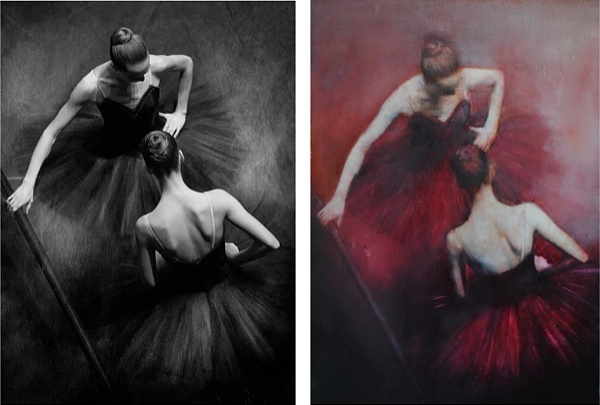 "Left, the original by Mark Olich. On the right: Gabriella Benevolenza ""Danseuses"""