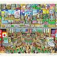 "Charles Fazzino ""A penny saved is a penny earned"" 3D-Siebdruck 100 x 120 cm"