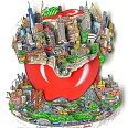 "Charles Fazzino ""Constructing The Gridlocked Apple"" 3D Siebdruck 50 x 50 cm"
