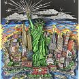"Charles Fazzino ""Liberty and Justice for all"" 3D-Siebdruck 50 x 50 cm"