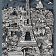 "Charles Fazzino ""Midnight In Paris"" 3D Siebdruck 115 x 65 cm"