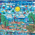 "James Rizzi ""Let's Take A Trip To The Tropics"" 3D-Siebdruck, 41 x 49 cm"