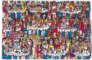 "James Rizzi ""Eating out with friends"" 3D-Siebdruck 15 x 20 cm"